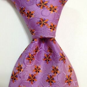 ERMENEGILDO ZEGNA Men's 100% Silk Necktie ITALY Luxury FLORAL Purple/Orange GUC