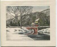 VINTAGE CHRISTMAS DRAFT HORSES BUGGY COLONIAL HOUSE STREAM BRIDGE GREETING CARD