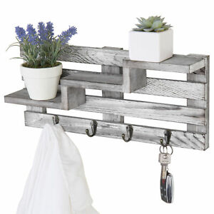 MyGift Wall Mounted Rustic Gray Torched Wood 3 Tier Accent Shelf with Key Hooks