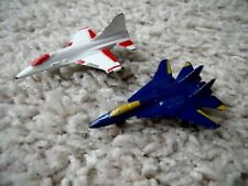 """2 Vintage Tootsie Toys Micro 2"""" Long F-16 & F-14 Fighter Jets"""