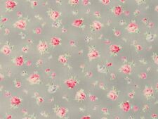 Romantik Stoffe Quilt Gate Rosenstoffe rosa Rosen Blüten grau hellgrau 30x1,12