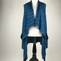 LOGO by Lori Goldstein Blue Green Stripe Sleeveless Drape Open Front Cardigan L