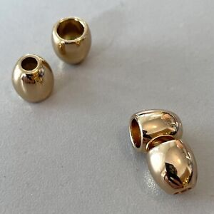 4pcs Round Cord Stopper / Lock End Gold Shiny Metal - Suit 2mm / 3mm Cord