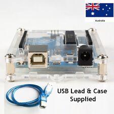 Original  Design Arduino Uno R3 with Clear Acrylic Display Case + USB powerlead.