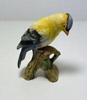 Vintage Lefton GOLD FINCH Bird On Log Japan Porcelain