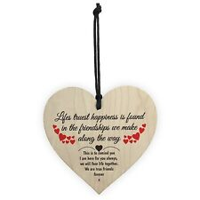 Lifes Truest Happiness Wooden Hanging Heart Gift Best Friends Plaque Shabby Chic