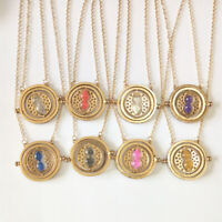 Harry Potter Hermione Granger Rotating Time Turner Necklace Hourglass GOLD