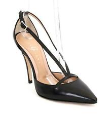 Gibellieri 3622 Black Leather Strappy Pointy Stiletto Pumps 38.5 / US 8.5