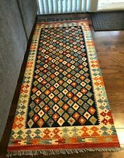 Tribal Woven Kilim 100% Wool Hand Knotted Rug 3' x 6.6' Runner Reversible