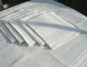 6 große Leinen Damast Servietten 65x63 cm