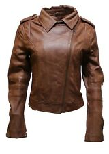 Ladies Women's BRANDO Tan Fashion Biker Soft Leather Rock Jacket