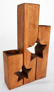 Set of 3 Handmade Star Shaped Wooden Tea Light Holders Rustic Walnut