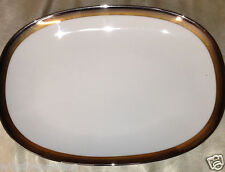 "NORITAKE COMPTON OVAL SERVING PLATTER 11 3/8"" PLATINUM GOLD BRONZE BANDS"