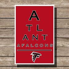"Atlanta Falcons Art Football NFL Eyechart Poster Man Cave Decor 12x16"""