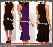 XS-XXL Womens Fishtail details Back zip Wear to Work Casual Pencil Bodycon Dress