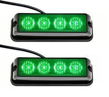 2x 4LED Car Emergency Hazard Warning Beacon 4W Strobe Light Bar Grill Green