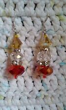 French Hook Jewelry Drop Dangle Crystal Red Clear Yellow Earrings