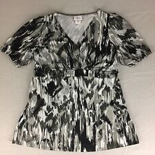 Oh Baby by Motherhood Maternity Top Shirt Blouse Black Gray White Pattern Size M