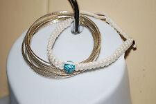 LOT Silver Tone Bangle Bracelets & White Rope w/ Aqua Blue Bead Fashion Jewelry
