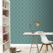 TEAL / GOLD CASABLANCA TRELLIS FRETWORK WALLPAPER - RASCH 309324