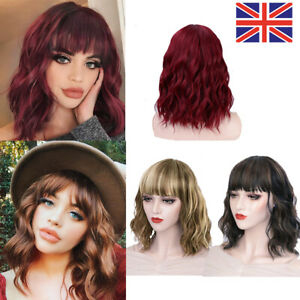 Women Ladies Wig Colored Short Wavy Curly Hair Bob Wigs With Bangs Party Prop UK