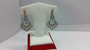 Beautiful Round CZ Chandelier Style Silver Earrings