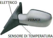 SPECCHIO SPECCHIETTO RETROVISORE DX RENAULT SCENIC II 03-09 ELET PRIMER TER SENS