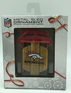 Denver Broncos Ornament NFL Sport Collector Series Metal Sled Christmas Football