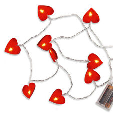 Lichterkette rot Filz-Herzen 10 LED Herzen Dekoration Herz Lichtkette Herzdeko