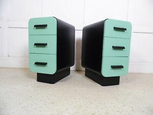 Vintage Art deco Czech furniture CC41 Curved bedside cabinets Halabala 1940s