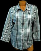 Coldwater creek gray pink plaid 3/4 sleeve folded collar plus button down top 16