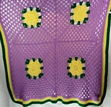 Crochet Afghan Throw Blanket 46x51 Purple Yellow Flower Couch Sofa Handmade