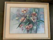 Framed Barbara Mock Signed Crewel Needlepoint Bouquet Flowers 1985 3D Hand Paint