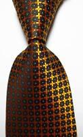 New Classic Checks Gold Black White JACQUARD WOVEN 100% Silk Men's Tie Necktie