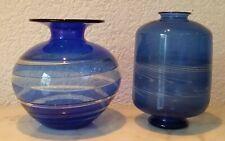 2 Lauscha Glas Glasvasen Blumenvasen Vasen mundgeblasen blau weiß Thüringen