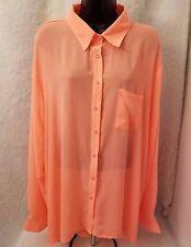 Bongo NWOT Woman's Plus Orange Open Back Design Button Down Sheer Shirt Size 3X