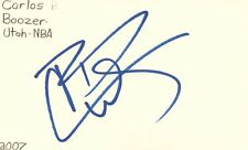 Carlos Boozer Utah Jazz NBA Basketball Autographed Signed Index Card