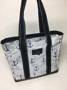 "Scout Original Mini Deano Tote Bag Anchors White/Blue 13"" X12"" X6"" Beach Boats"