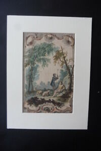 FRENCH SCHOOL 18thC - STUDY FOR A ROCOCO DECORATION C'CLE PILLEMENT - W'COLOR
