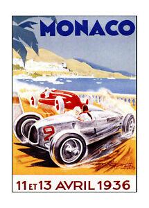 Vintage print painting art Monaco grand Prix 1936 canvas framed old car racing