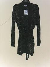 Laura Scott Women's Sweater Coat Shawl Collar Belted  Gray/Silver Marled Sz:L