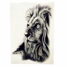 764e1aadb Lion Head Face Black Ink Temporary Tattoo Large Arm Body Art Zoo Animal  Fashion