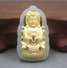 Natural Hetian Jade Nephrite with 24K Gold Bless Kwan-yin Middle Pendant 41mm H