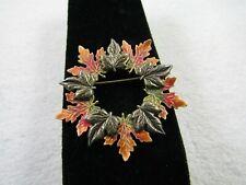 """Kenneth Cole Fall Enamel Leaf Wreath Design Gold Tone Pin Brooch 2 """""""