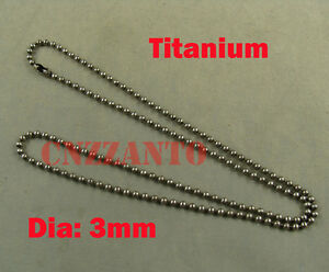 Pure Titanium Military Army ball bead chain necklace anti-allergy 23.6 inch
