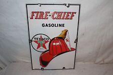 "Vintage 1947 Texaco Fire Chief Gasoline Gas Pump Plate 18"" Porcelain Metal Sign"