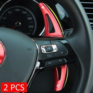 Red Steering Wheel Shift Paddle Blade Shifter For VW Tiguan Arteon Golf Alltrack