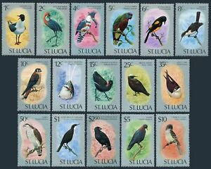 St Lucia 387-402,hinged.Michel 380-395. Birds 1976.Gull,Heron,Kingfisher,Finch