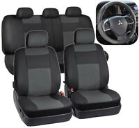 Black & Gray Synthetic Leather Seat Covers for Car SUV Auto Steering Wheel Cover