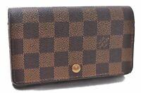 Auth Louis Vuitton Damier Porte Monnaie Billets Tresor Wallet N61730 LV A5142